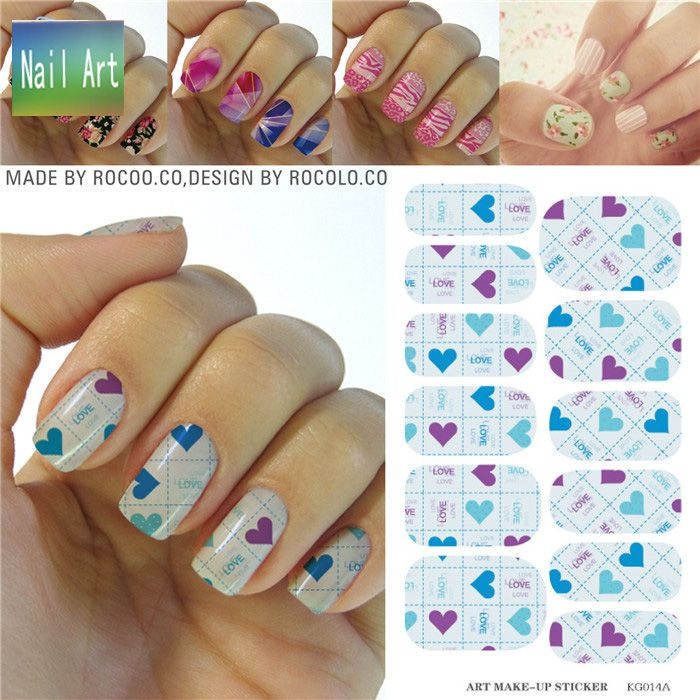 full Nail WRAPS Art Sticker Water Transfer False Nails Foil decals ...