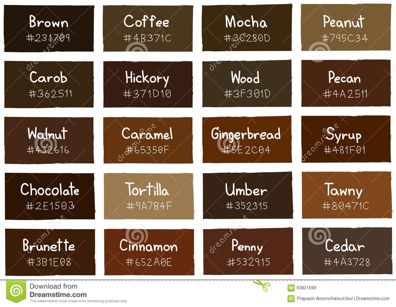 Image result for color names for brown  Brown Names  Color, Brown color names, Skin color palette