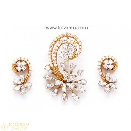 18K Diamond Pendant Sets Indian gold jewelry Gold polish and