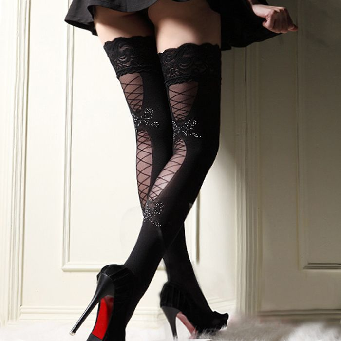 7322d971d122a Black with Red/White Polka Dot Bows and Black With Black/White Polka Dot  Bows. Sexy Stockings, Knee High ...