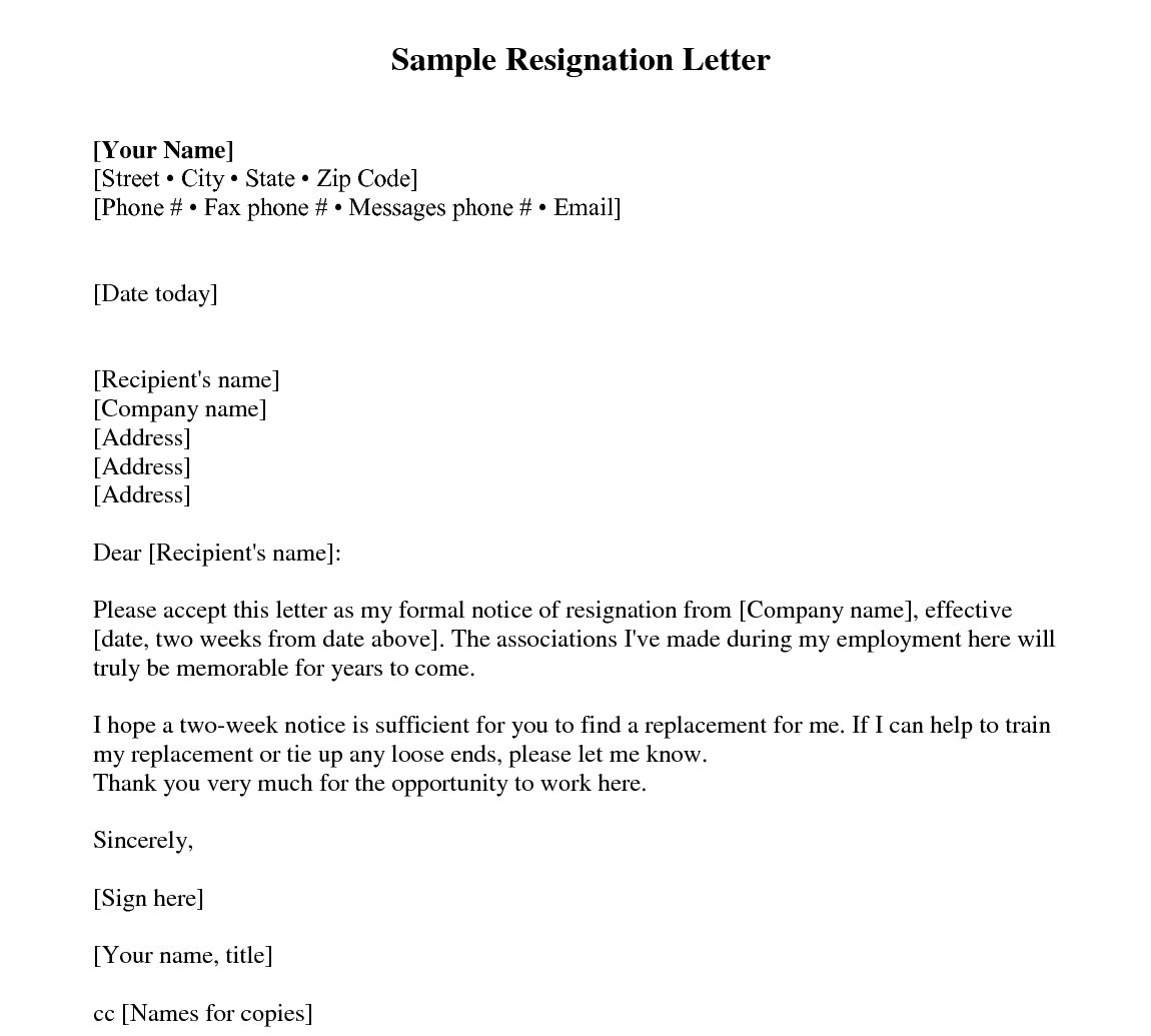 Two Weeks Notice Letter Sample Resignation 2 Ndash Every