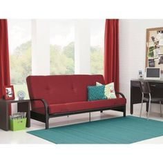 Product Review For Mainstays Black Metal Arm Futon With 6 Mattress Red Bester Furniture