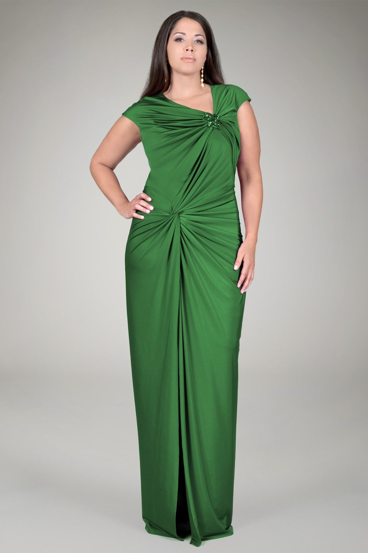 Jersey Draped Plus Size Evening Gown | Green Plus Size Evening Wear ...