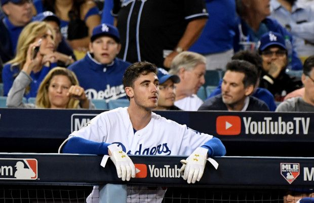 November 1, 2017: World Series Game 7. Dodgers vs. Astros, Los Angeles Dodgers' Cody Bellinger looks towards the scoreboard in the 5th inning of Game 7 on Wednesday in Los Angeles. (Photo by Keith Birmingham, Pasadena Star-News/SCNG)