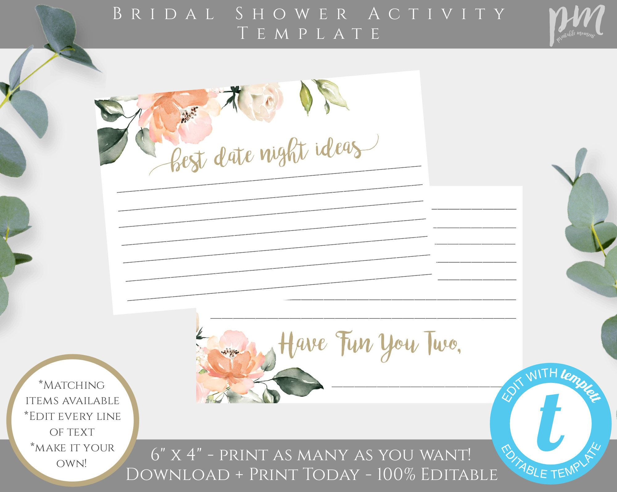 Peach Floral Bridal Shower Date Night Ideas Card Template Bridal Shower Activity Printable Bridal Shower Activities Floral Bridal Shower Peach Bridal Showers
