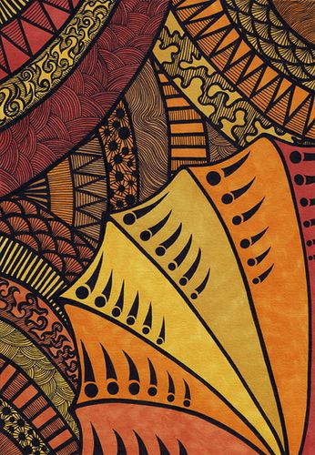 Tribal | Lorrie Whittington via Flickr: ink and Prismacolor on A4