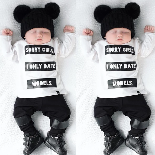 Fashion Letter Blouse Hoodies Tops Black Clothes Toddler Infant Kids Baby Boys