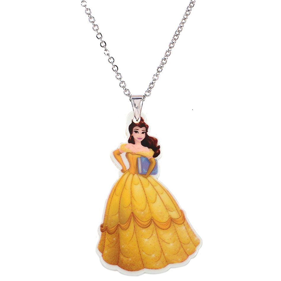 Big plastic princess charm pendant necklace for girls silver chain