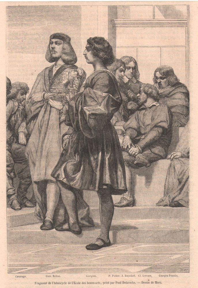Antique print Hémicycle Poussin Giorgion Bellini Ruysdael Delaroche Hippolyte