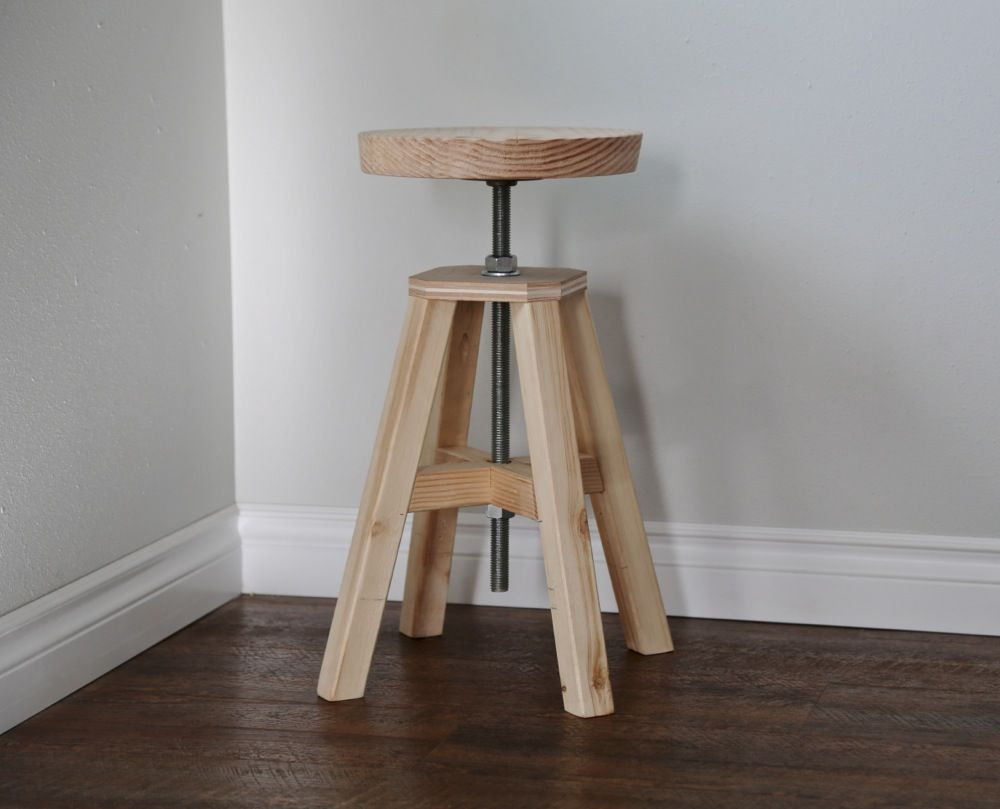 Ana White Build A Adjustable Height Wood And Metal Stool