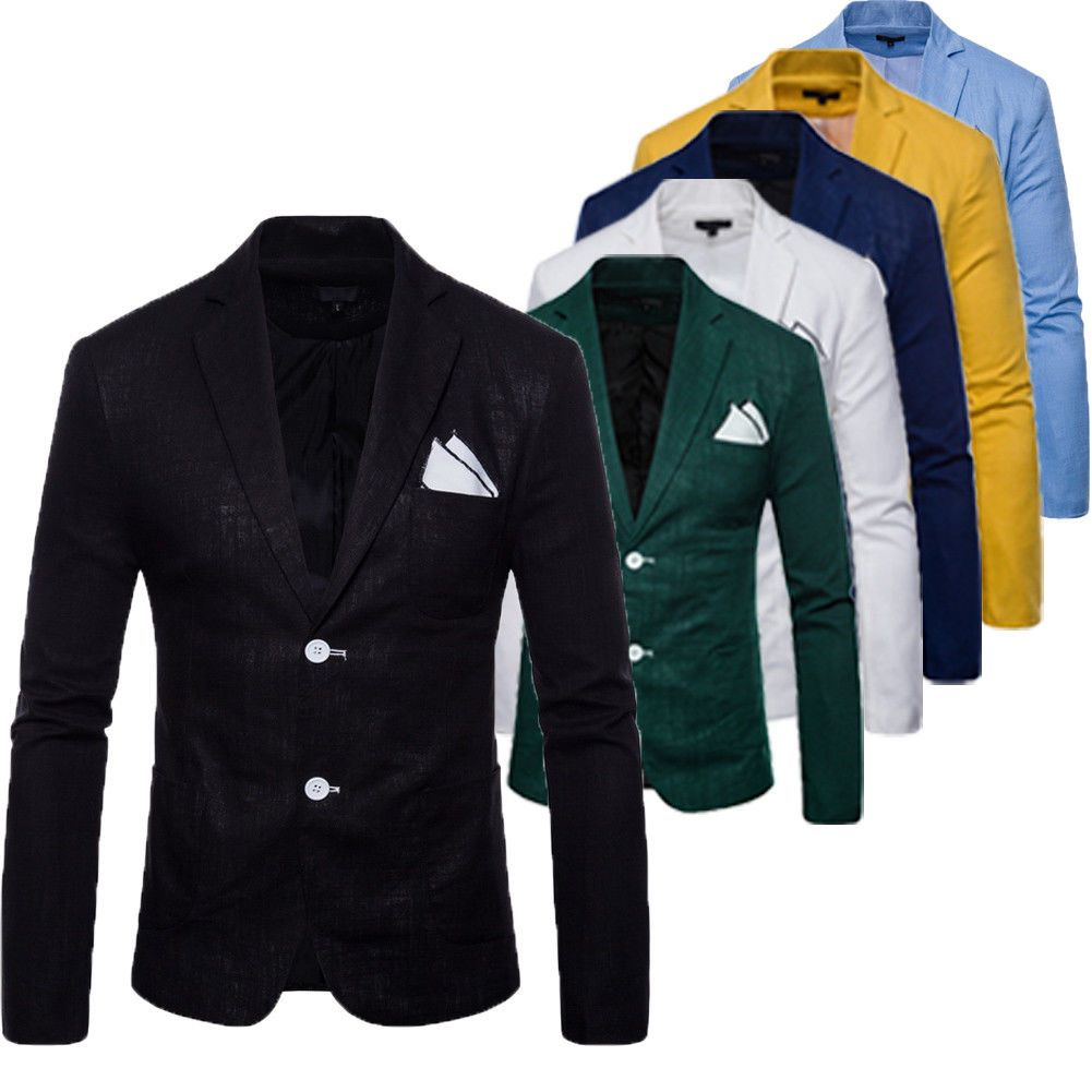 83d7a0d4243 2018 New Men s Casual Slim Fit Formal Two Button Suit Blazer Coat Jacket  Tops US
