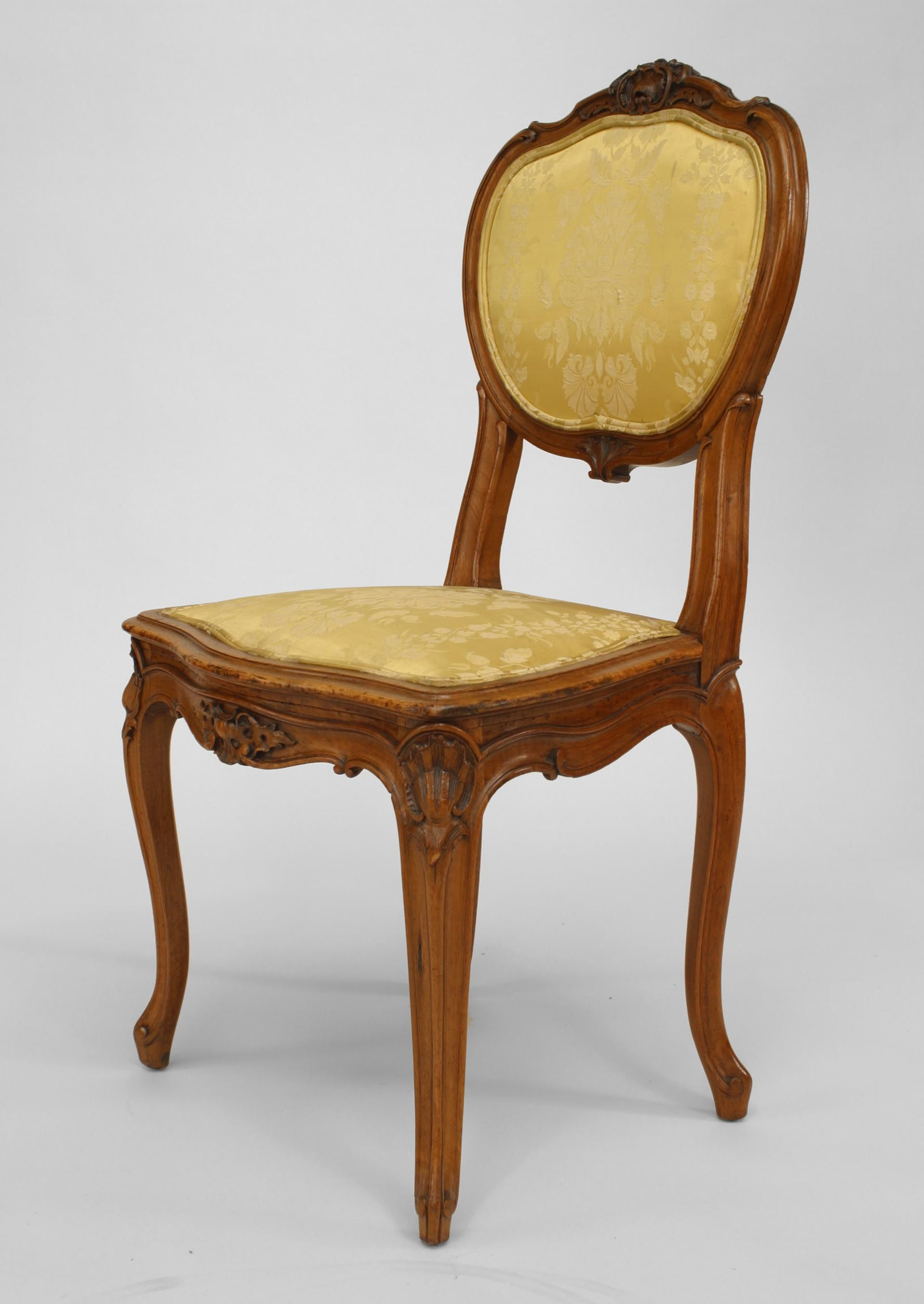 French louis xv seating chair set walnut