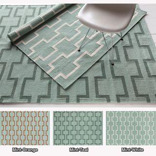 Mandara Handmade Abstract Pattern Flat Weave Wool Cotton Area Rug X