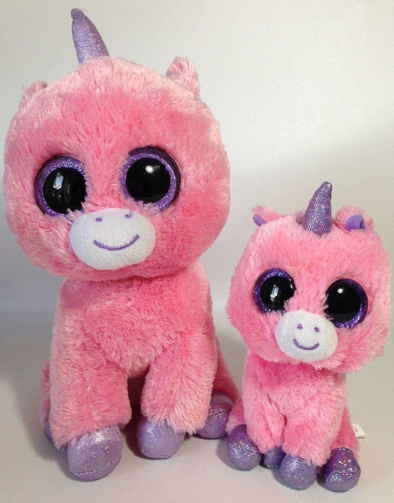 TY Beanie Boos MAGIC Pink Unicorns Glitter Eyes 6