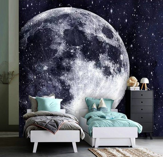 Wallpaper Universe,Full Moon,Adhesive Vinyl,Peel&Stick