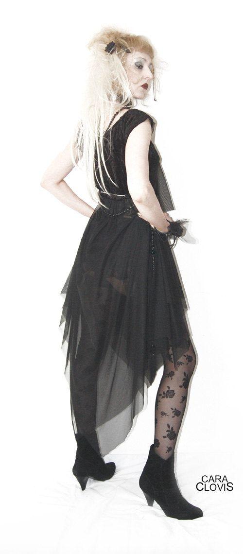 Kleid mit spitzen top und chiffonrock