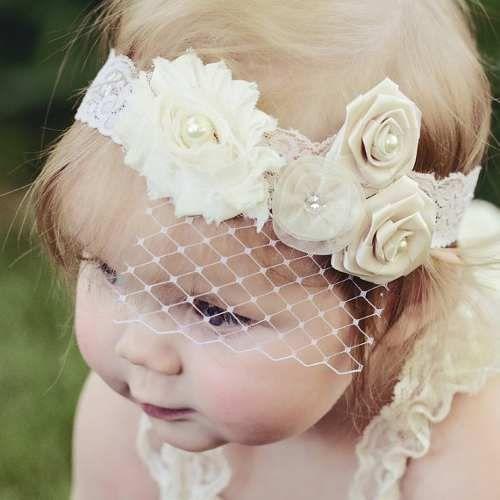 boda Bautizo tiara hecha a mano Marfil banda pelo del bebé bautizo Diadema De Encaje