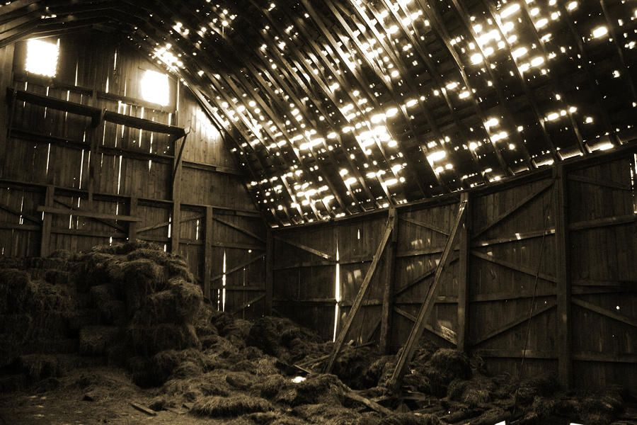 Barn Interior this picture was interesting for there was light coming from the