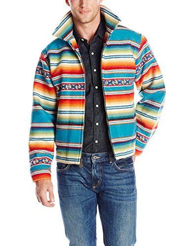 91126bd4 Pendleton Men's Sunset Coat, Turquoise Casa Grande Stripe, Small ...