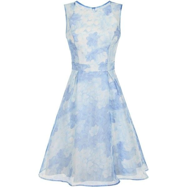 Chi Chi London Floral Print Organza Overlay Dress (249.390 COP) ❤ liked on Polyvore featuring dresses, blue, women, holiday dresses, floral midi dress, summer dresses, blue midi dress and blue cocktail dress