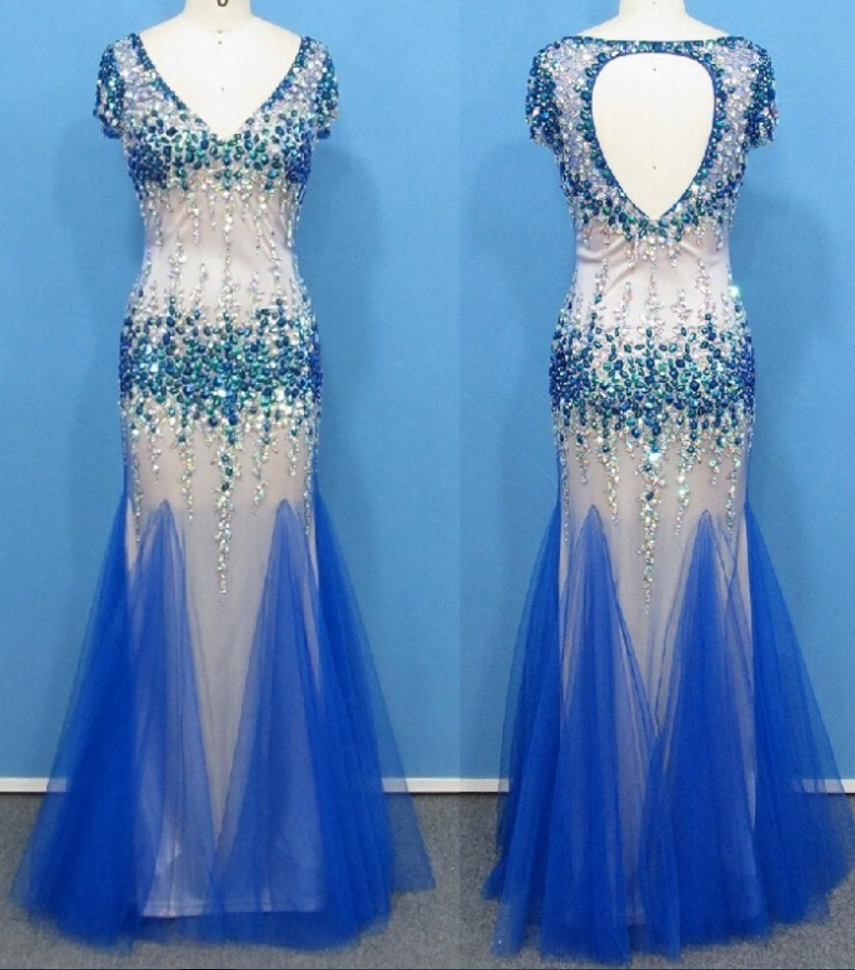 Prom dressessexy deep vneck keyhole back mermaid heavyprom