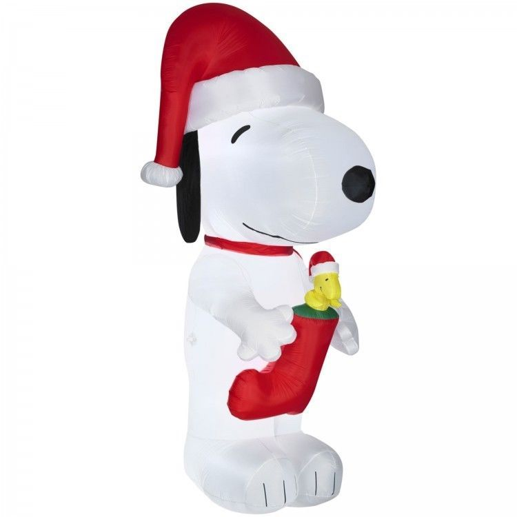 airblown inflatable christmas decoration giant snoopy with woodstock in stocking yarddecor
