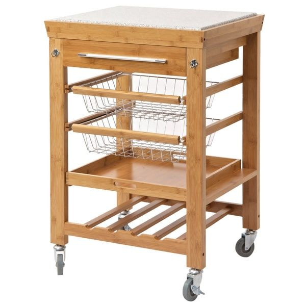 Rina Bamboo Kitchen Cart, Granite Top