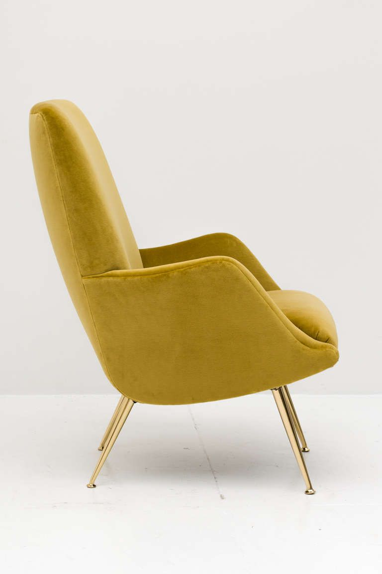 Pair of Carlo de Carli Club Chairs for Singer and Sons is part of Lounge chair design - View this item and discover similar  for sale at 1stdibs  Fantastic pair of MidCentury Italian club chairs custom upholstered in a chartreuse cotton velvet on polished brass legs
