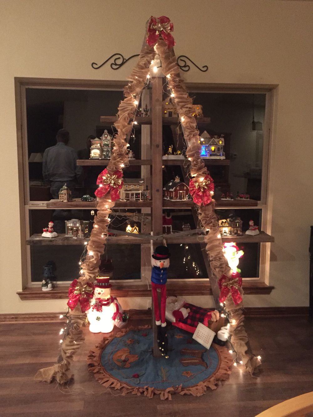 Christmas Tree Made From Old Wood Ladder For Christmas Village