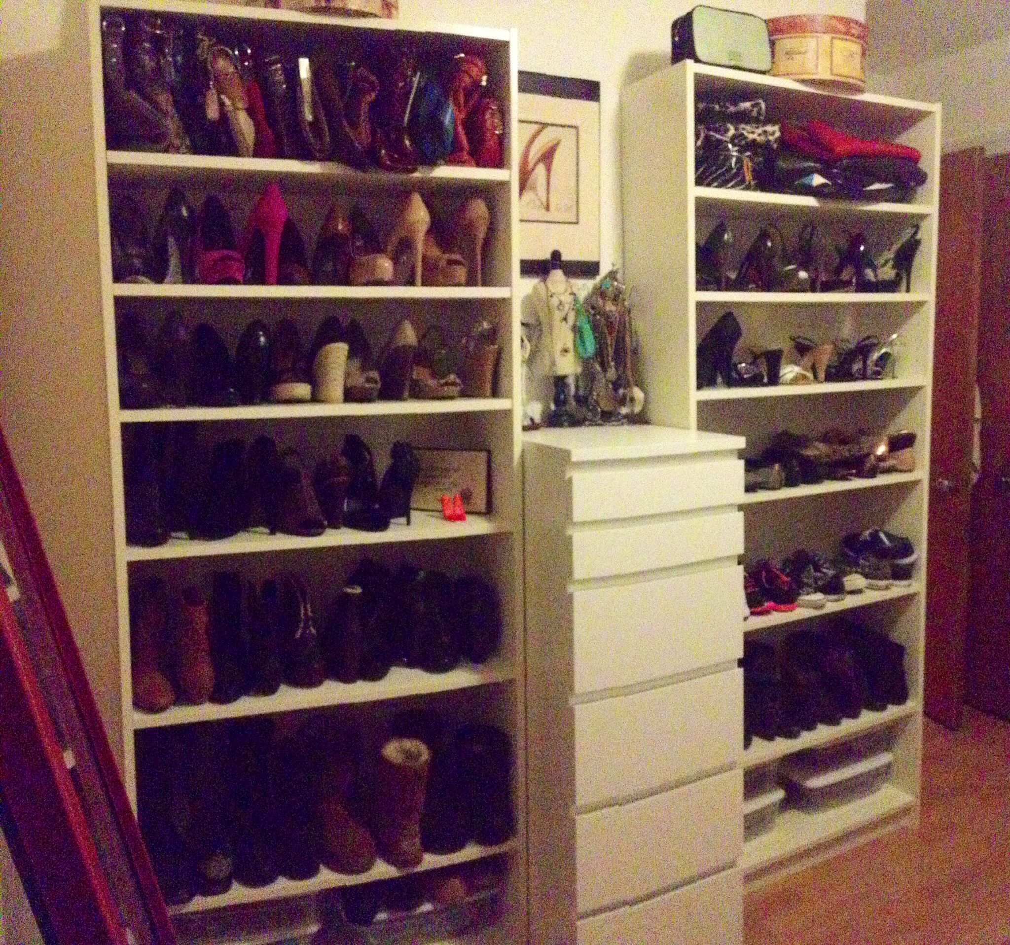 ugg shoes other side of my walk in room closet billy bookcases all white from