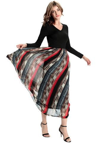 50c7bb8ee21 Elegant Women Long Sleeve Patchwork V Neck Chiffon Long Maxi Dress ...