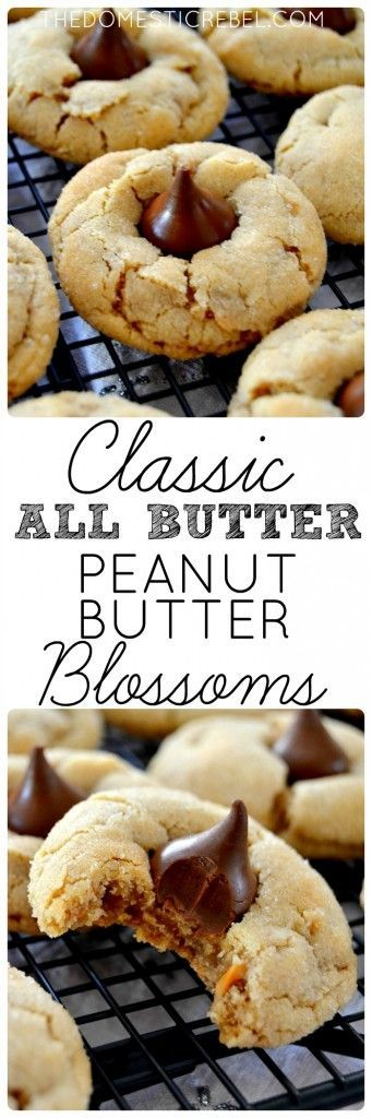 classic, all-butter Peanut Butter Blossoms are the PERFECT cookie! Soft, chewy, thick and buttery and filled with a delectable chocolate center. This dough is so foolproof and doesn't require chilling!