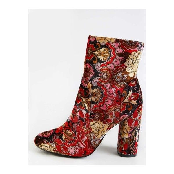 SheIn(sheinside) Vintage Inspired Patterned Ankle Booties MULTI (654.935 IDR) ❤ liked on Polyvore featuring shoes, boots, ankle booties, multicolor, suede boots, suede ankle booties, vintage boots, chunky-heel boots and tribal print boots