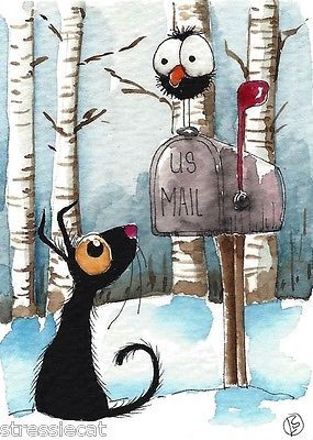 ACEO Original Watercolor Folk Art Illustration Stressie Cat Crow Snow Mail Box | eBay