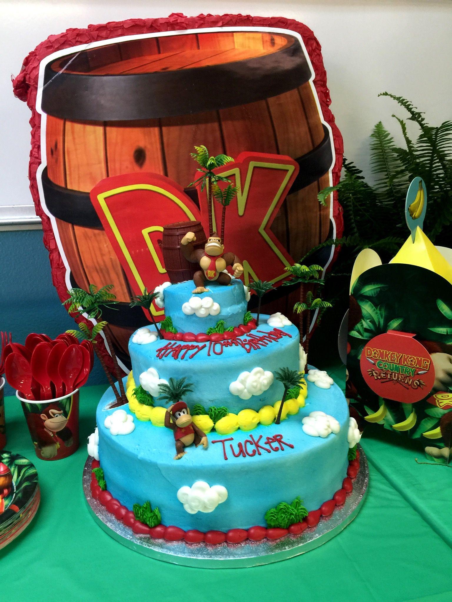 Pleasant Donkey Kong Birthday Party Cake With Images Birthday Party Funny Birthday Cards Online Amentibdeldamsfinfo