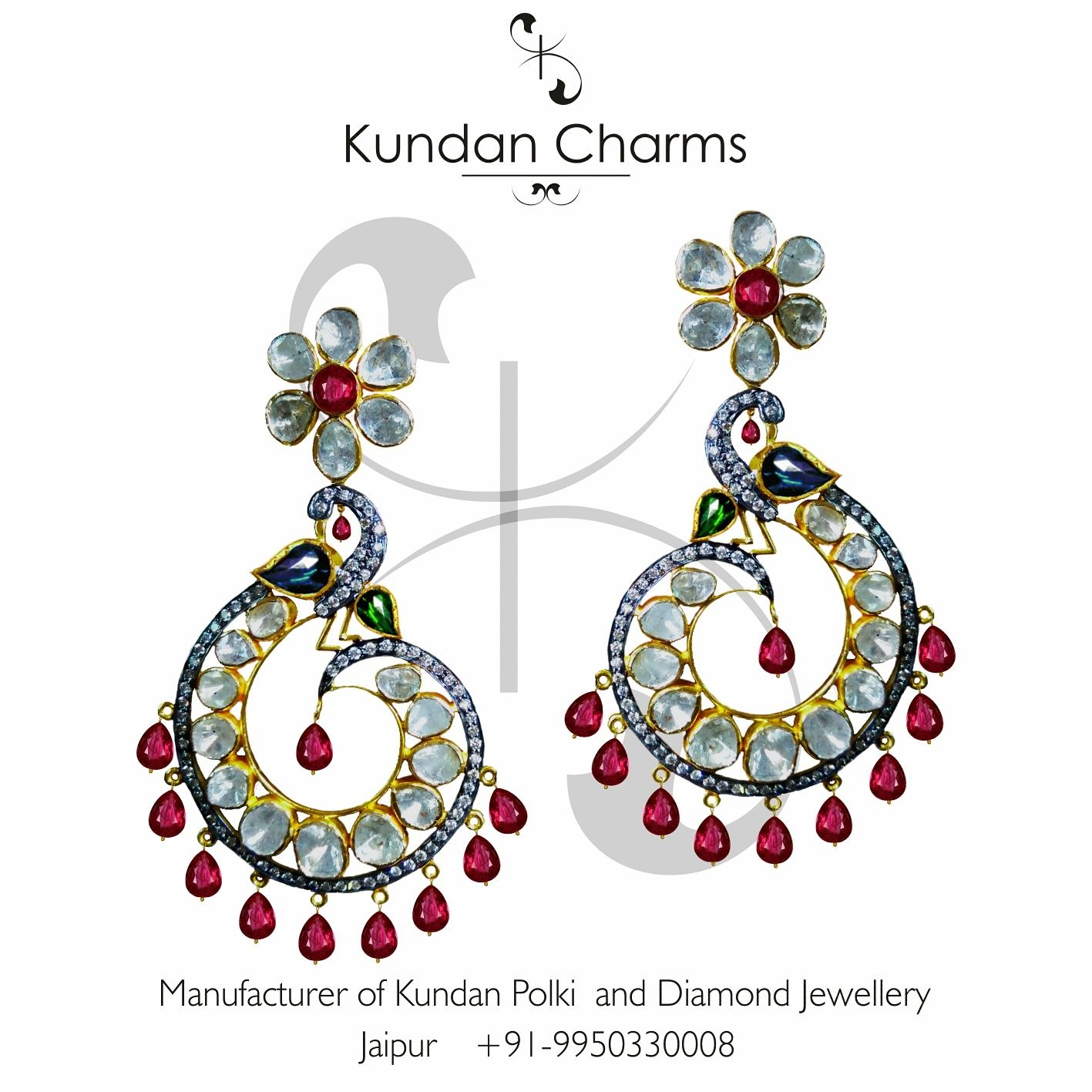 Peacock Style Fusion Diamond Polki Earrings with Ruby Hangings