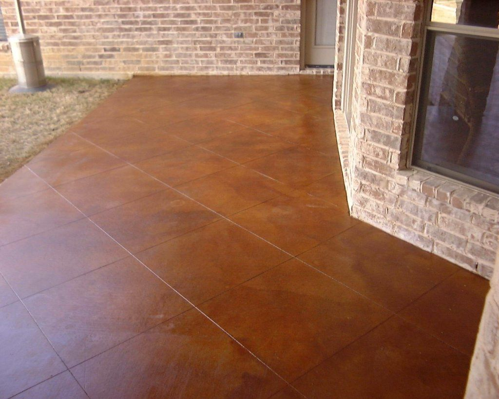 Stained Concrete, Reddish Brown | New Patio. 36 Inch Tile Engraving. Aged  Leather