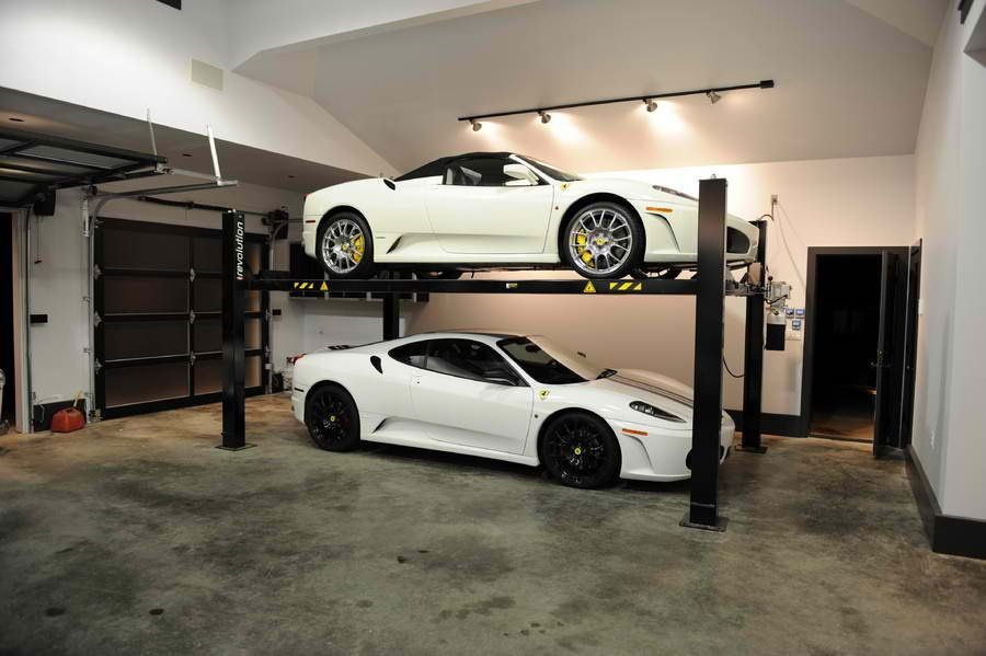 Car lift storage rack dream garage pinterest for Garage plans with lift