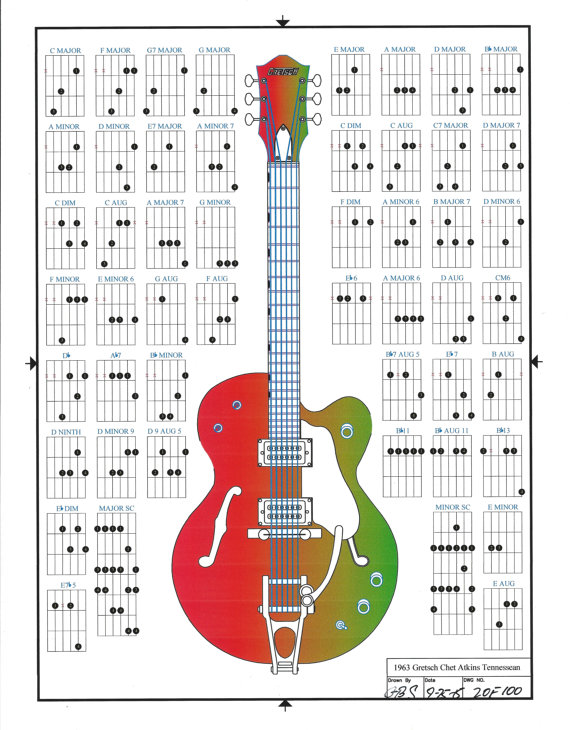 gretsch chet atkins tennessean guitar chords line drawing electric guitar poster from. Black Bedroom Furniture Sets. Home Design Ideas