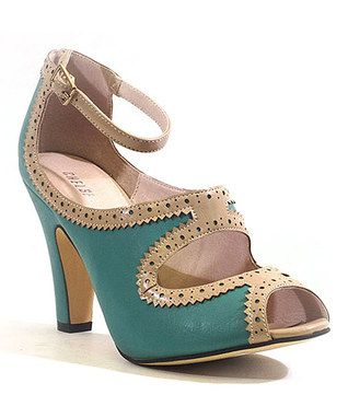 Teal & Beige Escada Pump