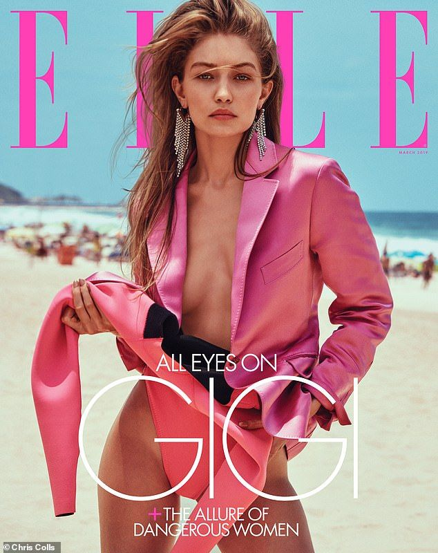 Busty: The star oozed confidence as she revealed her cleavage in an unbuttoned fuchsia pin... #gigihadid