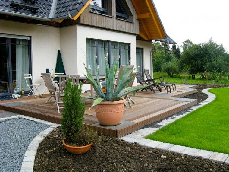 terraza con muebles y tumbonas de teca casa Pinterest