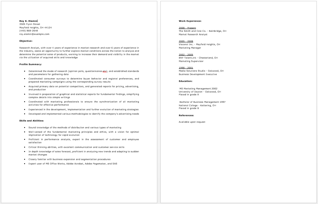 Market Research Analyst Resume Free Resume Examples Resume Examples Free Resume Examples Market Research