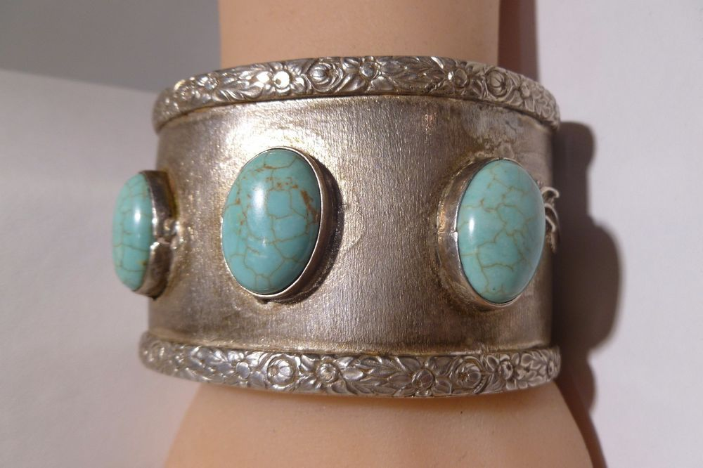 Handmade Bracelet by Michael Rogers Paiute Native American Vintage Silver Turquoise Cuff