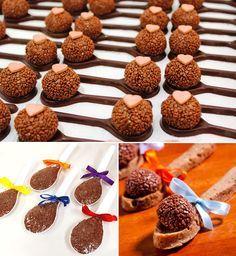 Brigadeiro na colher de chocolate: Dona Chocolate | Brigadeiro na colher: Fabiana d'Angelo | Brigadeiro na colher de cookie: Parapluie