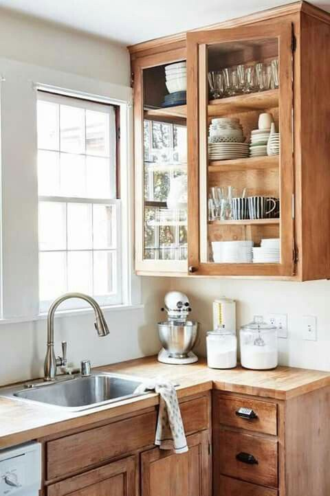 Raw Wood Cabinets In Kitchen