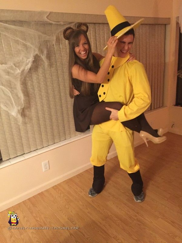 man in the yellow hat and curious george couple costume - Curious George Halloween Games