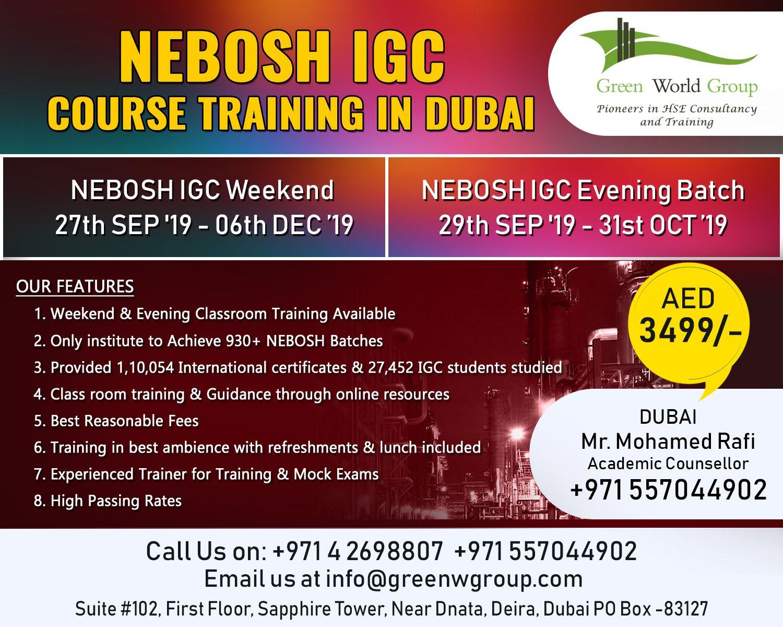NEBOSH Safety Course in Dubai,UAE Training courses