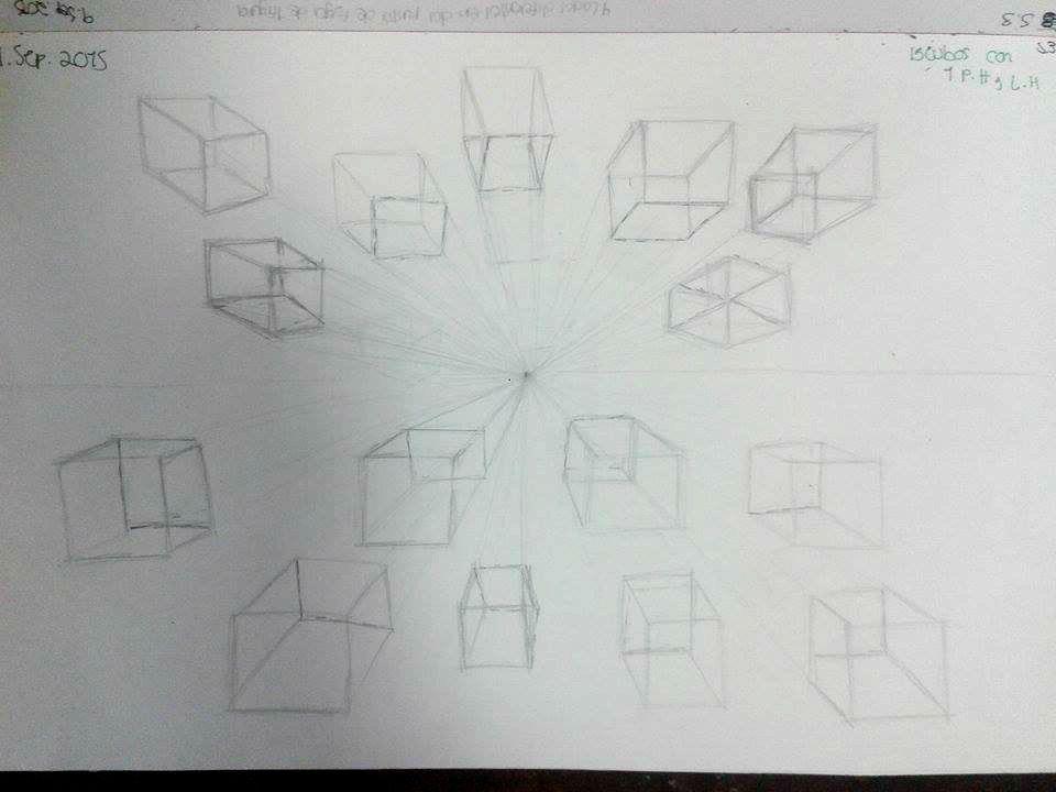15 cubos en una linea de horizonte y un punto de fuga        MARITERE FONSECA
