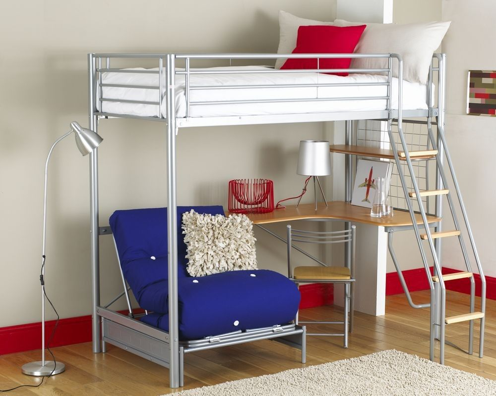 New white loft bed with desk loft bed inspirations - Cool beds for adults ...
